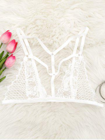Trendy Cut Out Caged Lace Bralette WHITE L