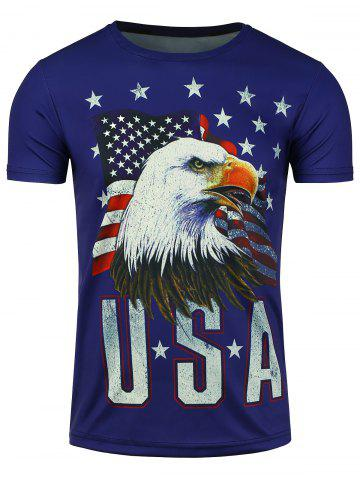 Sale Short Sleeve 3D Eagle American Flag Print T-shirt