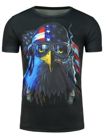 Shops Short Sleeve 3D Eagle Print Patriotic T-shirt BLACK XL