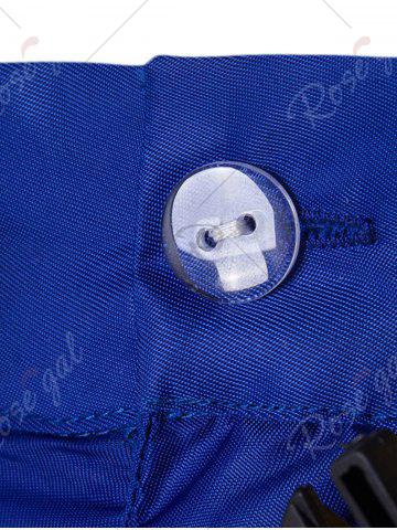Discount Plastic Buckle Embellished Zipper Fly Polyester Shorts - XL BLUE Mobile