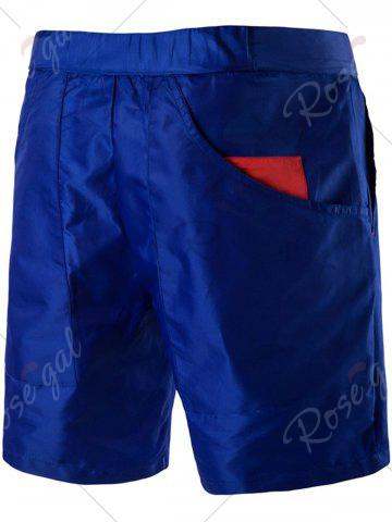 Hot Plastic Buckle Embellished Zipper Fly Polyester Shorts - XL BLUE Mobile