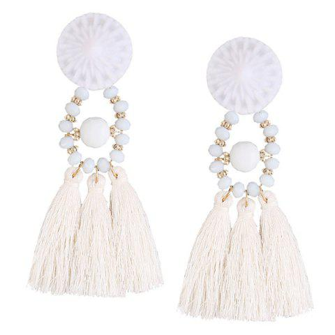 Cheap Resin Circle Beaded Tassel Earrings WHITE