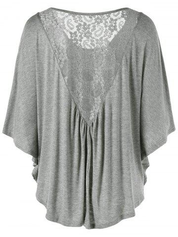 Lace Insert Butterfly Sleeve Plus Size T-Shirt - Gray - 4xl