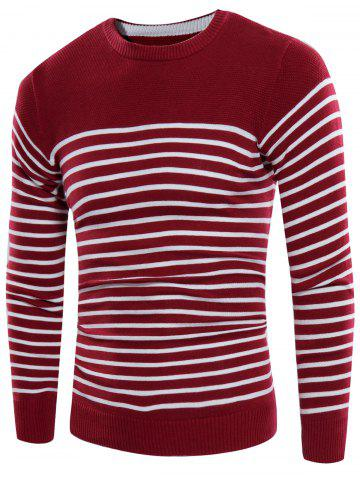Discount Striped Design Crew Neck Rib Panel Sweater WINE RED 3XL