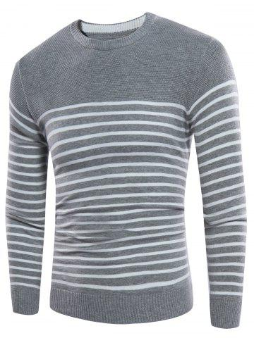 Hot Striped Design Crew Neck Rib Panel Sweater OYSTER 3XL