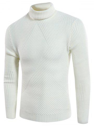 Twill Knitting Turtle Neck Rib Design Sweater - Off-white - L