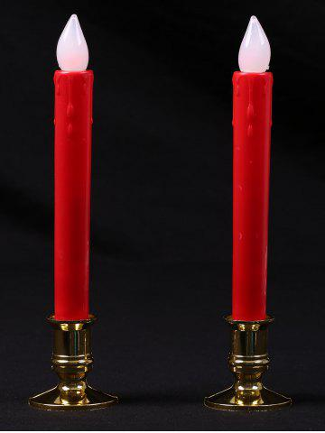 Plastic Pillar Shape LED Electronic 2PCS Candles Night Light Rouge