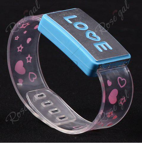Chic Flash Letter Party Decorative Watch Shaped Light - LOVE BLUE Mobile