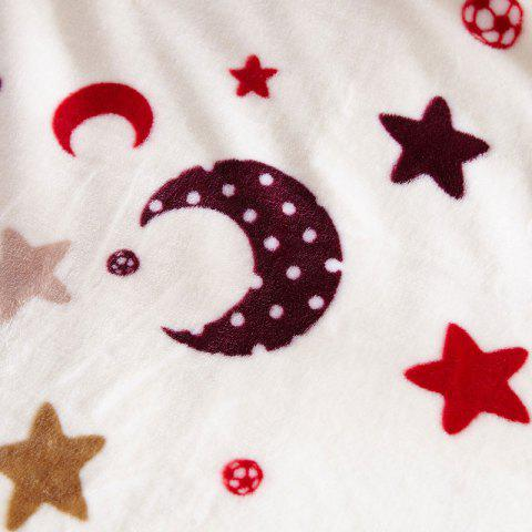 Fancy Sofa Nap Throw Blanket with Star Moon Print - FULL BEIGE Mobile