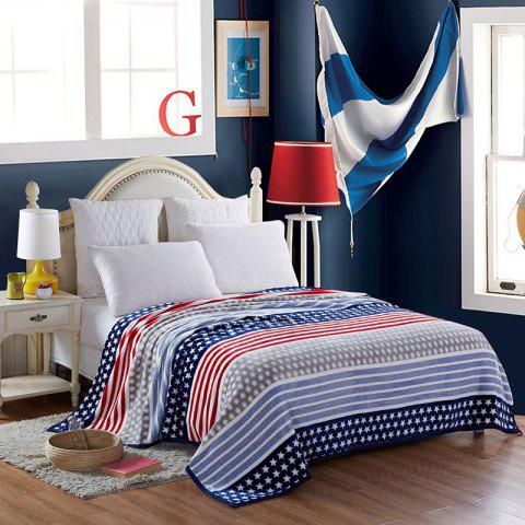 Fashion Spring Summer Star and Stripe Blanket - QUEEN BLUE Mobile