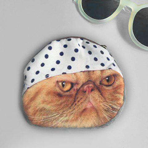 Fancy 3D Cat Print Coin Purse WHITE