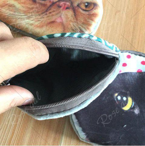 Buy 3D Cat Print Coin Purse - GREEN  Mobile