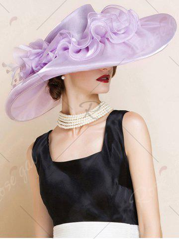 Best Oversize Organza Layered Flowers Sun Hat - SUEDE ROSE  Mobile