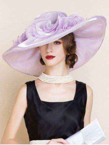Shop Oversize Organza Layered Flowers Sun Hat - SUEDE ROSE  Mobile