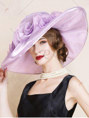 Discount Oversize Organza Layered Flowers Sun Hat - SUEDE ROSE  Mobile