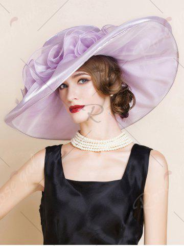 Unique Oversize Organza Layered Flowers Sun Hat - SUEDE ROSE  Mobile