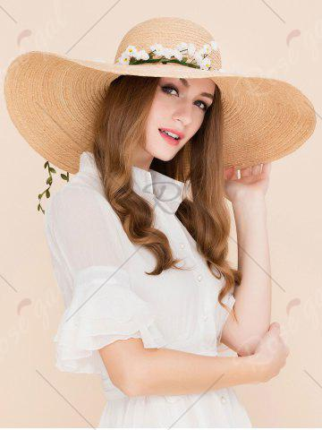 Discount Wide Brim Fake Flowers Embellished Straw Hat - YELLOW  Mobile