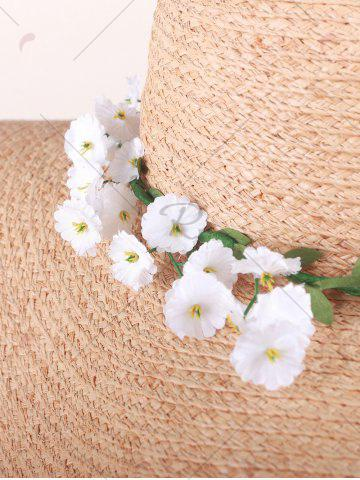 Unique Wide Brim Fake Flowers Embellished Straw Hat - YELLOW  Mobile