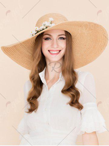 Outfits Wide Brim Fake Flowers Embellished Straw Hat - YELLOW  Mobile