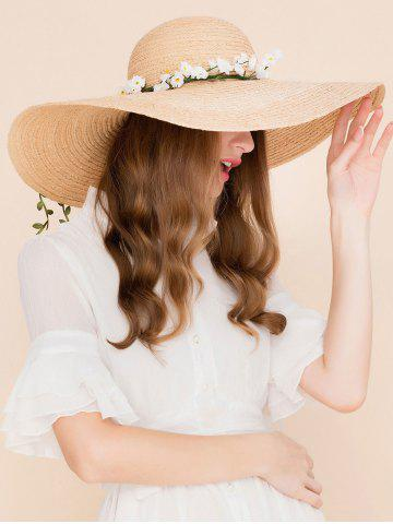 Best Wide Brim Fake Flowers Embellished Straw Hat YELLOW