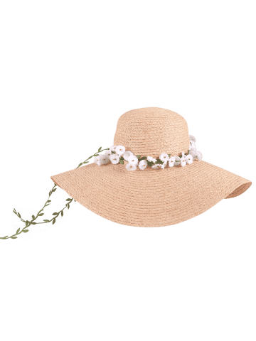 Shop Wide Brim Fake Flowers Embellished Straw Hat - YELLOW  Mobile