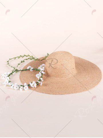 Trendy Wide Brim Fake Flowers Embellished Straw Hat - YELLOW  Mobile