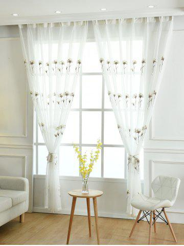 Sheer Tulle Floral Embroider Curtain For Living Room - White - W54inch * L108inch