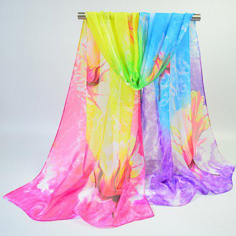 Cheap Multicolor Chiffon Fancy Flowers Printing Lightsome Scarf - YELLOW + PURPLE  Mobile