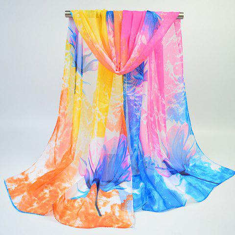 Chic Multicolor Chiffon Fancy Flowers Printing Lightsome Scarf - BLUE AND YELLOW  Mobile