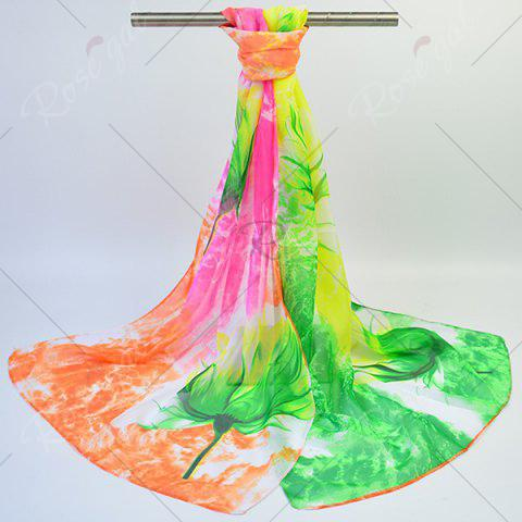 Fancy Multicolor Chiffon Fancy Flowers Printing Lightsome Scarf - GREEN AND YELLOW  Mobile