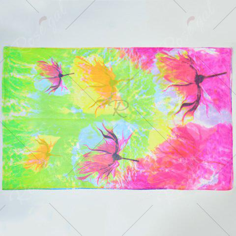Fashion Multicolor Chiffon Fancy Flowers Printing Lightsome Scarf - GREEN AND YELLOW  Mobile