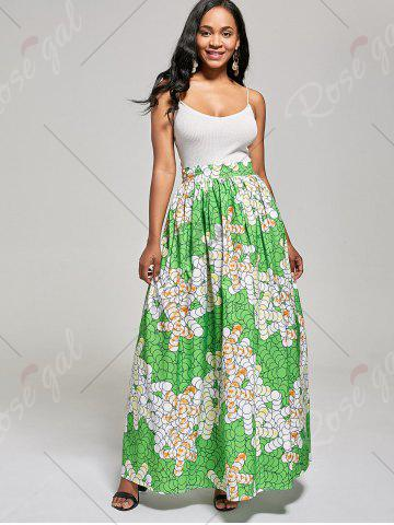 Unique African High Waist Printed Skirt - M GREEN Mobile