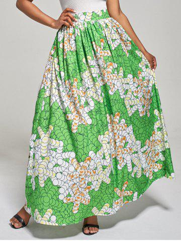 Online African High Waist Printed Skirt - M GREEN Mobile