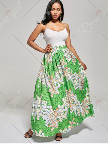 Buy African High Waist Printed Skirt - M GREEN Mobile