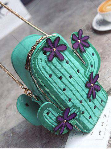 Fancy Novelty Cactus Shaped Crossbody Bag - GREEN  Mobile