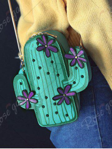 Unique Novelty Cactus Shaped Crossbody Bag - GREEN  Mobile