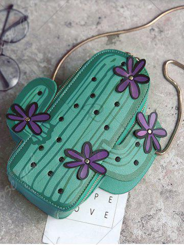 Store Novelty Cactus Shaped Crossbody Bag - GREEN  Mobile