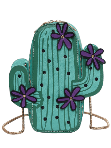 Fashion Novelty Cactus Shaped Crossbody Bag - GREEN  Mobile