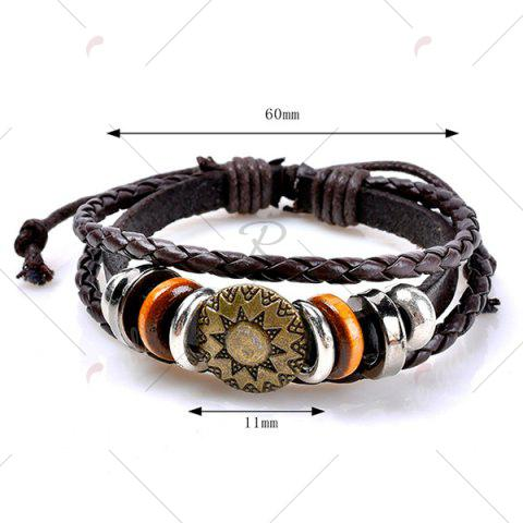 Sale Circles Sun Pattern Embelished Layered Retro Bracelet - COFFEE  Mobile