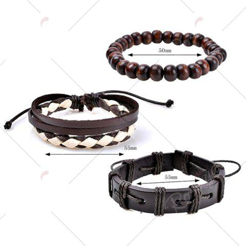 Discount Retro Beads Faux Leather Woven Friendship Bracelets - COFFEE  Mobile