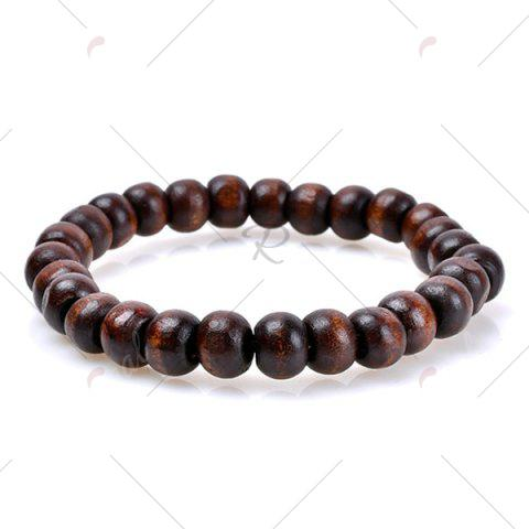 Chic Retro Beads Faux Leather Woven Friendship Bracelets - COFFEE  Mobile
