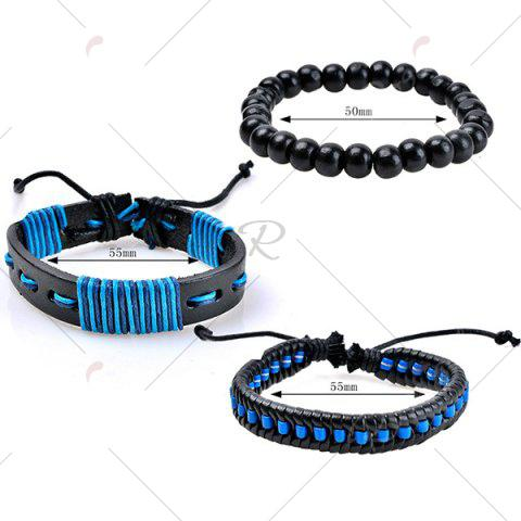 Outfits Woven Artificial Leather Beads Friendship Bracelets - BLUE  Mobile