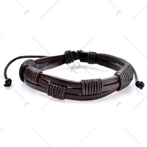 Outfits Faux Leather Woven Beaded Friendship Bracelets Set - COFFEE  Mobile