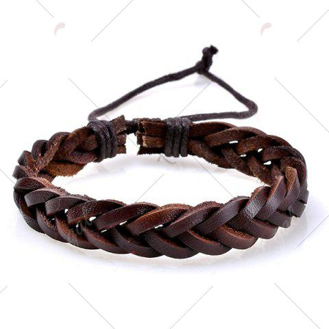 Chic Faux Leather Woven Beaded Friendship Bracelets Set - COFFEE  Mobile