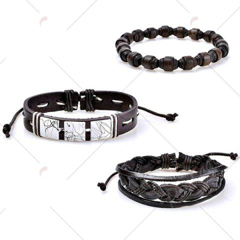 Fancy Layered Faux Leather Woven Friendship Bracelets Set - COFFEE  Mobile