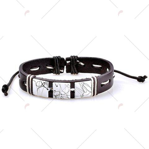 Chic Layered Faux Leather Woven Friendship Bracelets Set - COFFEE  Mobile
