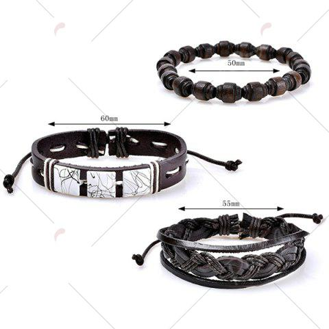 Latest Layered Faux Leather Woven Friendship Bracelets Set - COFFEE  Mobile