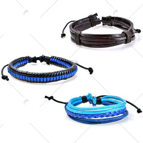 Discount Beaded Faux Leather Woven Rope Bracelets Set - BLUE  Mobile