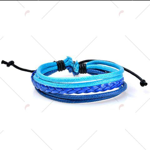 Store Beaded Faux Leather Woven Rope Bracelets Set - BLUE  Mobile