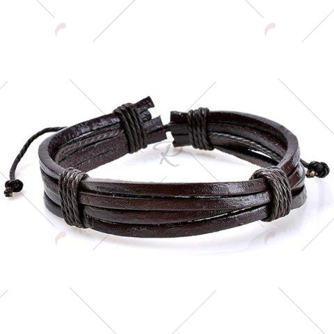 Outfits Beaded Faux Leather Woven Rope Bracelets Set - BLUE  Mobile